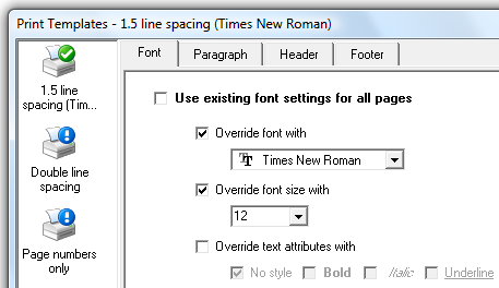 One of the Print Template screens